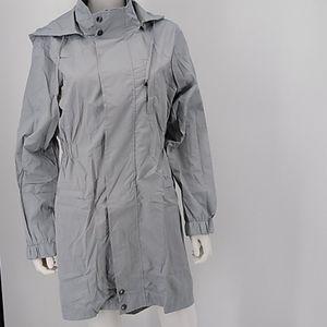 Gray Waterproof Removable Hood Trench coat Jacket